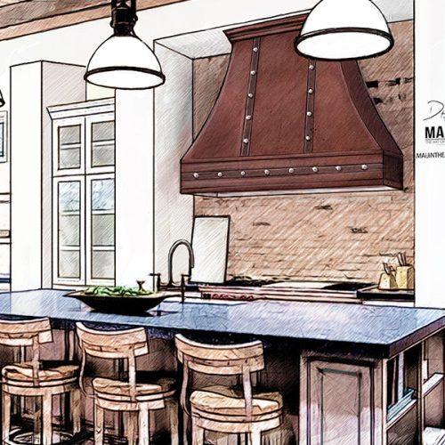 Kitchen Design Rendering: Graphic Artist Portfolio. Freelance Illustrator, Concept